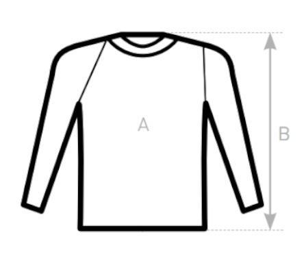 Tabuľka veľkostí ženských tričiek s dlhým rukávom