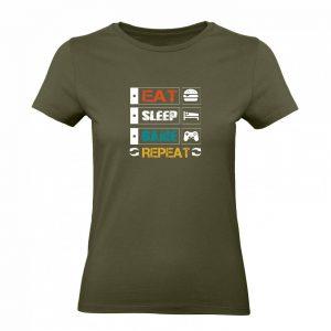 Ženské tričko - Eat Sleep Game Repeat